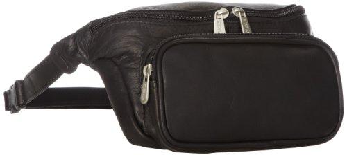 Piel Leather Un tamaño clásico deporte Bolsa de cintura, 25 cm, Negro