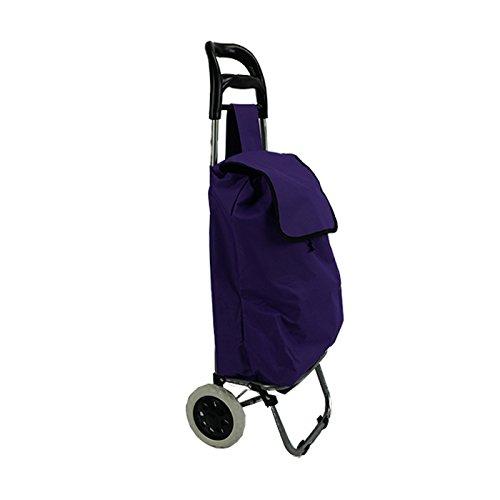 TecAffair Einkaufstrolley Einkaufsroller Trolley Roller Einkaufswagen klappbar schwarz rot (Lila)