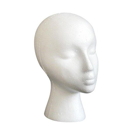 HARRRYSTORE Ultra-light Styropor Schaum Weiblichen Mannequin Kopf Modell Dummy Perücke Gläser Hut Display (Indische Perücke Kostüme)