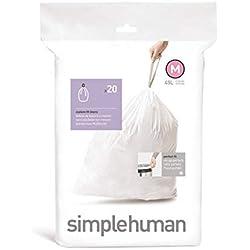 Simplehuman Sac poubelle Code M 40/45 litres Lot de 20