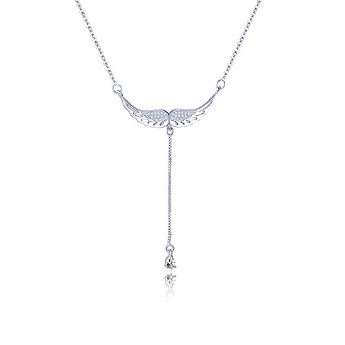 WikiMiu Women's Necklaces Silver 925, Angel Wing Pendant with Zircon, Sweet and Elegant Jewelry, Gift for Women for Valentine's Day