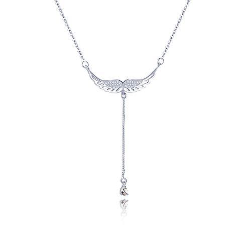 WikiMiu Collares para Mujer Plata 925, Colgante de ala de ángel con circón, Joyería Dulces y Elegantes, Regalo para Mujer para el día de San valentín de cumpleaños