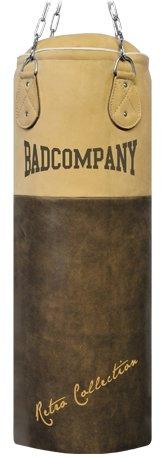 Bad Company Premium Retro Rindsleder Boxsack braun 100 x 35cm gefüllt inkl. Heavy Duty Vierpunkt-Stahlkette - Leder Verarbeitetes