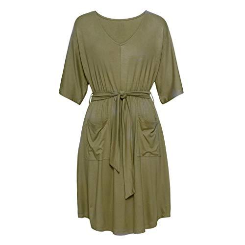 Rüschen-wolle Pullover Kleid (Suitray Damen Kleid Mode Kurzarm V-Ausschnitt Lose Minikleid Mode Freizeit Kleid Dekolletiert Kleid Cocktailkleid Sommerkleid Partykleid Strassenmode Fraun Abendkleid)