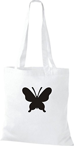 ShirtInStyle Stoffbeutel Schmetterling Butterfly Libelle Käfer Marienkäfer Kult weiss