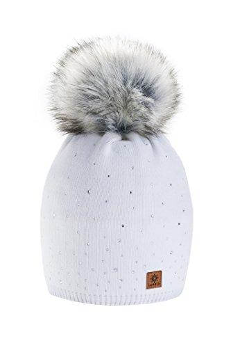 Wurm Winter Strickmütze Mütze Damen Kristalle Kiesel mit Große Pelz Bommel Pompon l SKI (White) ( MFAZ Morefaz Ltd)