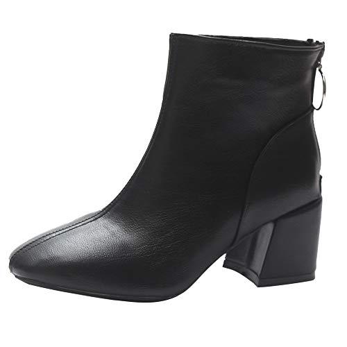 High Heels Stiefel Damen,Elecenty Frauen Stiefeletten Damenschuhe Schuhe Kurzschaft Lederstiefel 6cm Blockabsatz Boots Damenstiefel Winterschuhe