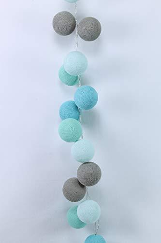 Cotton Ball Lights Mint 20 LED Lichterkette mit USB Anschluss, Baumwolle, licht braun-hell-türkis -