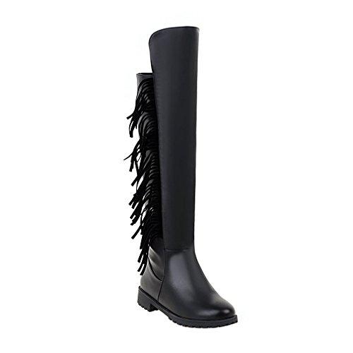ENMAYER donne metallo decorativi attorno la cerniera nabuk della bassa tacco in ginocchio gli stivali Nero#73