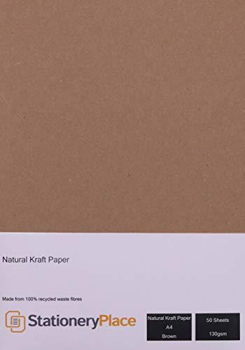Stationery Place Kraft Paper - Paquete de papel reciclado, tamaño A4, 130 g/m², 50 hojas
