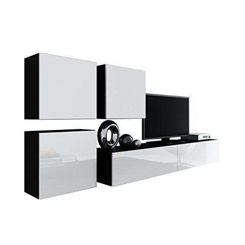 Wohnwand Vigo XXIII, Design Mediawand, Modernes Wohnzimmer Set, Anbauwand,  Hängeschrank TV Lowboard, (Schwarz/Weiß Hochglanz)