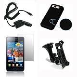 Starter Pack para Samsung Galaxy S2/SII - cargador de coche, protectores de pantalla x3, soporte para coche y funda de silicona negro + ENVIO GRATIS
