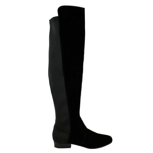 Mujeres Plano elastificados Pernera Ancha Elástico Sobre Rodilla Alto Botas De Montar Talla - Gamuza Negra, 37