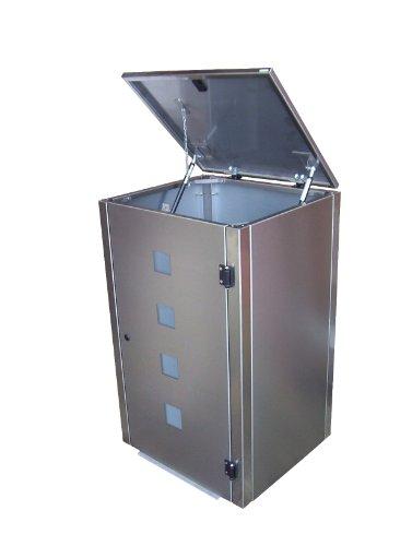 Mülltonnenbox Edelstahl, Modell Eleganza Quad 240 Liter als Viererbox - 2