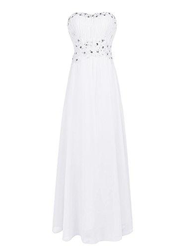 Dresstells, Robe de cérémonie Robe de soirée Robe de demoiselle d'honneur col en cœur sans bretelles Blanc