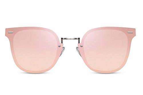Cheapass Sonnenbrille Cat-Eye Runde Gläser Rosé-Gold Verspiegelt Silber Metall Damen