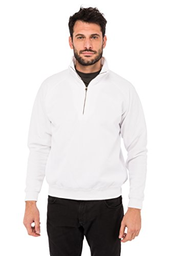 Fruit of the loom Herren Sweatshirt Zip Neck Sweat 62 - 114 - 0, Gr. Medium, Weiß (White 30)