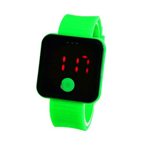 Zimmermädchen Strumpfband (XZDCDJ Fitness Armband Smartwatch Damen, Aktivitäts-Tracker Neue ultradünne leichte Sport-Armbanduhr des Mann-Mädchen-Silikon-Digital-LED Grün)