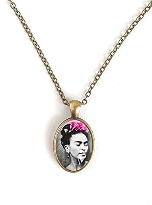 Collier pendentif cabochon 25 mm, CCabochon Frida Khalo, Portrait de femme, Mexicain