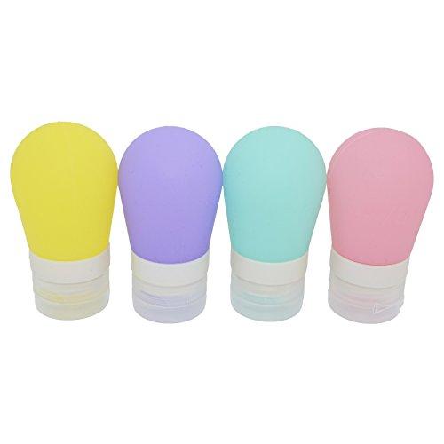 KINGOU 60 ml Birne Form, Reise, kosmetische Flasche, nachfüllbar Silikon-Behälter ideal für den Transport Shampoo / Lotion, 4 Stück pro Satz