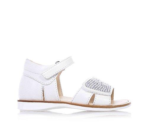 FLORENS - Sandalo bianco in pelle, con chiusura a strappo, strass decorativi applicati sulla fascia anteriore, tallone chiuso, Bambina, Ragazza-23