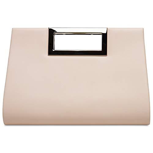 CASPAR TA408 elegante Damen XL Clutch Tasche/Abendtasche/Umhängetasche mit langer Kette, Farbe:nude, Größe:One Size