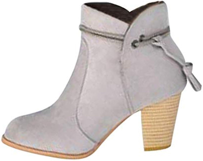 ZHRUI Scarpe Stivali Moda Donna, Stivali da da da Donna Punta Tonda Stivaletti Alti Spessi Stivaletti con Zip Laterali... | Delicato  | Uomo/Donna Scarpa  abe8f5