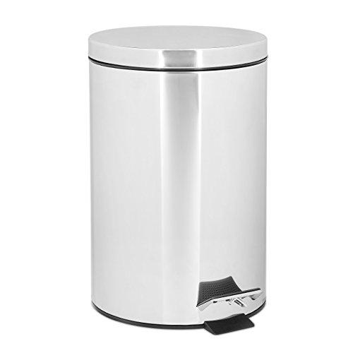 Relaxdays Treteimer 7 L aus Edelstahl H x D: 31,5 x 21 cm Abfalleimer in Metall-Optik als Abfallbehälter und Tretmülleimer für Küche und als Kosmetikeimer im Bad Tretmülleimer, silber