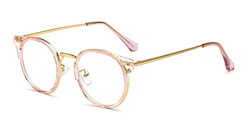 KINDOYO Herren Damen Klassische Nerdbrille Rund Metall Rahmen Vintage Look Clear Lens Brillen, Transparent Rosa