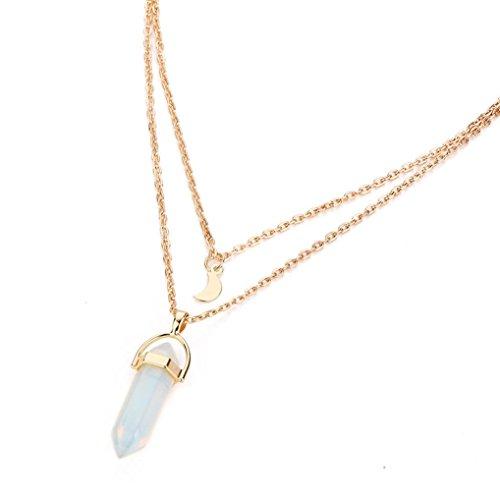 Halskette,Binggong Frauen Multilayer Unregelmäßige Kristall Opale Anhänger Halskette Choker Chain Naturstein Kristallglas Sechseck Anhänger Halskette Mutter Geschenk Mädchen Zubehör (43+5 cm / 16.9+2.0 inch, Weiß)