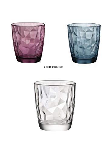 Bormioli set 12 bicchieri trasparenti viola blu acqua bibita cocktail 30 cl diamantati linea diamond