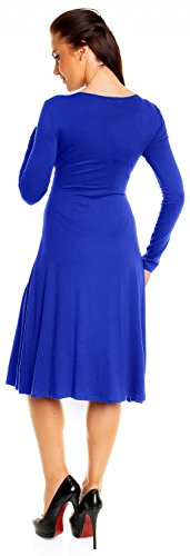 Zeta Ville - Robe patineuse - manches longues - robe de cocktail - femme - 890z Bleu Royal