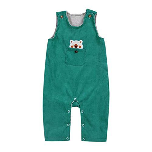 feiXIANG Baby Strampler Mädchen Jungen Cartoon Bär Overall Ärmellos Freizeitkleidung Spielanzug 0-24 Monate(Grün,100) Faux Silk Coat