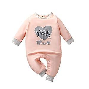 Mono recién Nacido Bebé Manga Larga Bebé Niños Niñas Letra Impresa (We Are Family) Mono de San Valentín Romper Mono de… 6