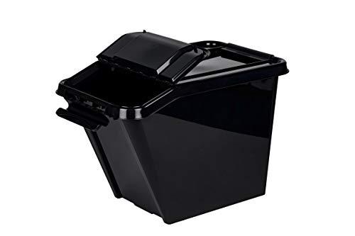 Kreher XL Stapelbox aus Kunststoff in Anthrazit mit geteiltem Deckel. Fasst ca. 58 Liter. Immer einfacher Zugriff Dank geteiltem Deckel. Maße ca. 40 x 65 x 44 cm.