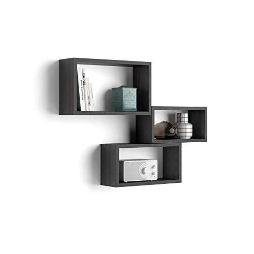 Mobili fiver, set di 3 cubi da parete, giuditta, frassino nero, 27 x 14,5 x 45 cm, nobilitato, made in italy