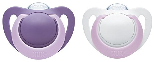 NUK 10175179 Genius Silikon-Schnuller, kiefergerechte Form, 0-6 Monate, 2 Stück, Girl, violett