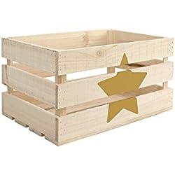 Caja con Estrella, Madera, en Amarillo, 49x30.5x25 cm - distintos colores