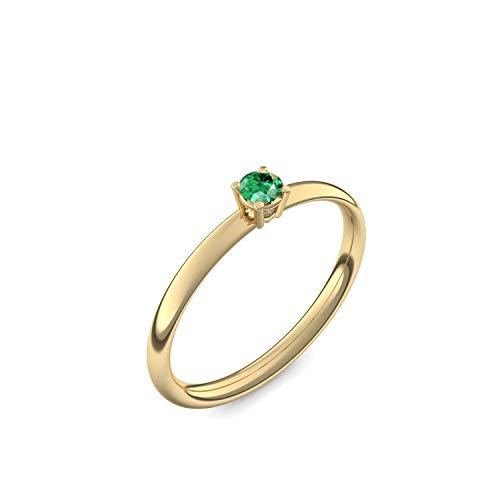 585 Goldring Smaragd (sehr hochwertig!) + inkl. Luxusetui + - Goldringe Smaragd Ringe (Gelbgold 585) - Concinnity Amoonic Größe 52 (16.6) AM161 GG585SMFA52