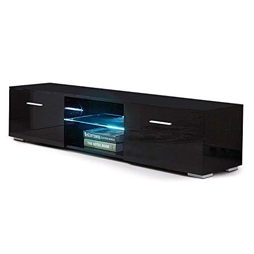 mecor TV Schrank Fernsehtisch Fernsehschrank TV Lowboard Tisch TV Möbel mit 2 Schubladen Hochglanz inkl. LED Beleuchtung in Schwarz