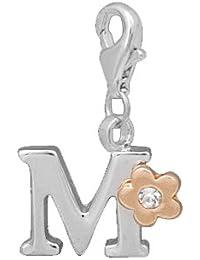 sekka jewelry® Colgante alfabeto letra M con copos de piedra