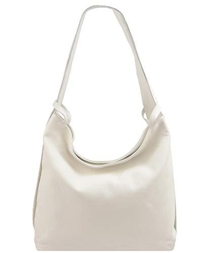 2in1 Damen Handtasche Rucksack Designer Luxus Henkeltasche aus 100% Echtleder (Creme) -