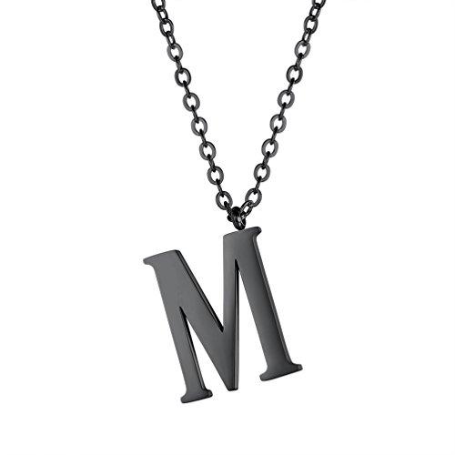 PROSTEEL Halskette Edelstahl Buchstabe M Alphabet Charme Anhänger Halskette Fashion Anfangsbuchstabe Modeschmuck mit 55cm Rolokette Schwarz