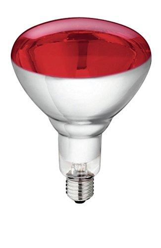 5 Stück Hartglas Infrarotbirne Philips 250 Watt rot E 27 Glühbirne Leuchtmittel für Rotlicht Wärmelampe Wärmestrahler Infrarotlampe Infrarotstrahler