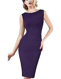 289e8d60f Amazon.es  Vestido Negro Sin Espalda - Morado   Vestidos   Mujer  Ropa