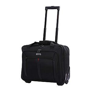 EONO Essentials Rollkoffer Trolley Laptoptrolley Business-Tasche Laptop-Tasche bis 15,6″- Zugelassen für Ryanair, Easyjet, BA & Jet2, Schwarz