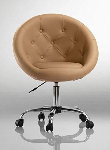 Drehstuhl Schreibtischstuhl Cappuccino Rollhocker mit Lehne Arbeitshocker Kosmetikhocker Duhome 0536