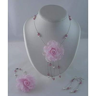 Parure mariée - Véra002 - rose et blanc - Bijoux mariage