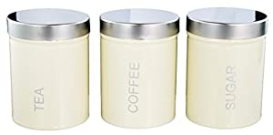 Buckingham Set of 3 (Three) Kitchen Storage Canisters Jar Ideal for Tea Coffee and Sugar Stainless Steel Lid - Cream