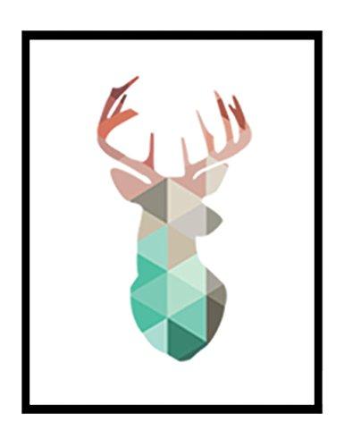 Géométrique corail Animaux Toile Art Impressions Affiches Cerf Tête Girafe Ours Flamant Modèle Abstrait Giclées Impression de photos murales Décoration d'intérieur pas de cadre PTGM001-M